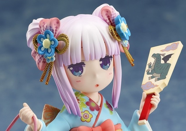 A close-up of the Miss Kobayashi's Dragon Maid Kanna - Fine Clothes - 1/7 Scale Figure by FuRyu, emphasizing Kanna's cute expression and dragon-themed attire and accessories.