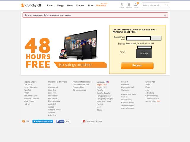 Crunchyroll - Forum - Can't redeem free 2 day premium gift code