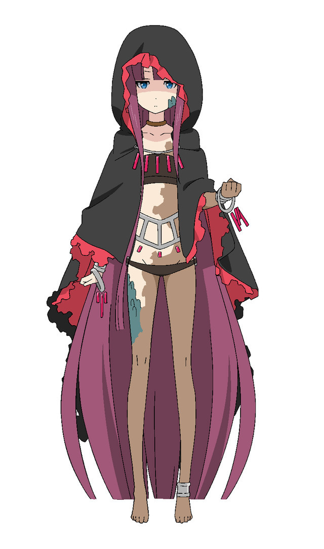 Organ, a mysterious girl dressed in a frilly cloak whose body is covered with patches of discolored skin and reptile scales.