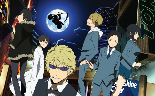 A key visual featuring the principal cast of the Durarara!! TV anime.